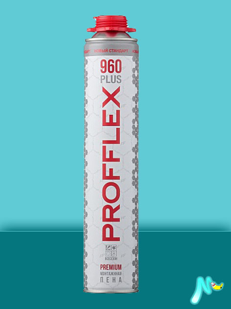 Пена монтажная всесезонная профессиональная 960 Plus Premium 850 мл PROFFLEX