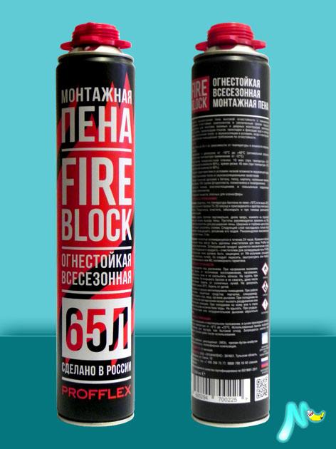 Профессиональная огнестойкая монтажная пена FireBlock 65 850 мл PROFFLEX