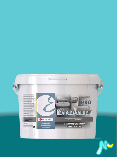 Гидроизоляция акриловая PRO с армирующим волокном ECOROOM
